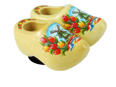 Nelis Imports Magnet Wooden Shoe  Varnished Windmill & flowers