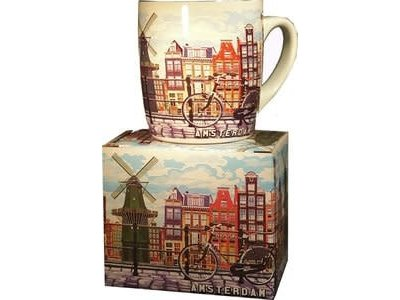 Amsterdam Mug with Mill & Bike Color Gift Boxed
