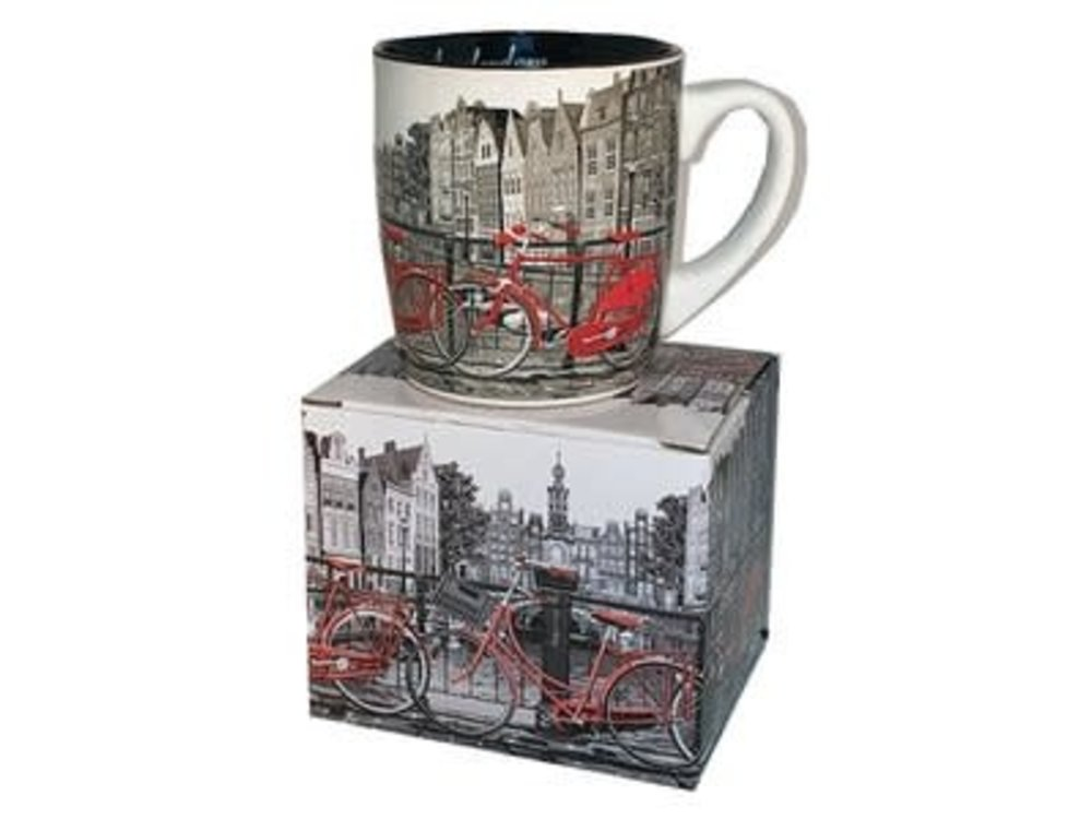 Amsterdam Mug Gray w/2 red bicycle gift boxed