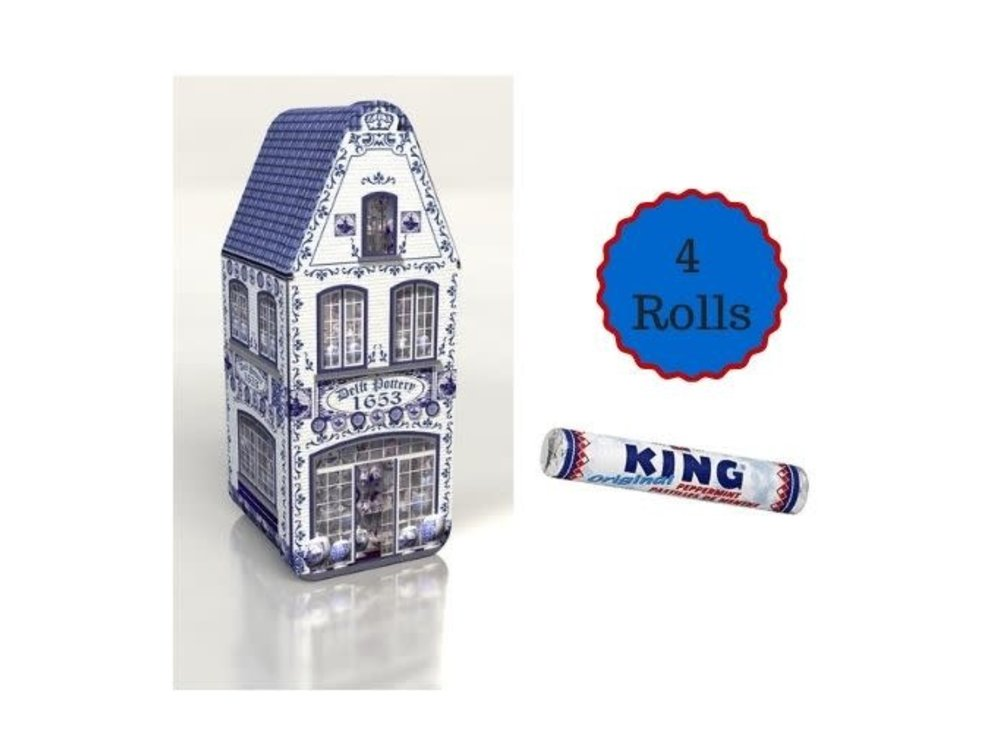 Peters Delft Blue House Tin with 4 rolls of King Peppermint gift