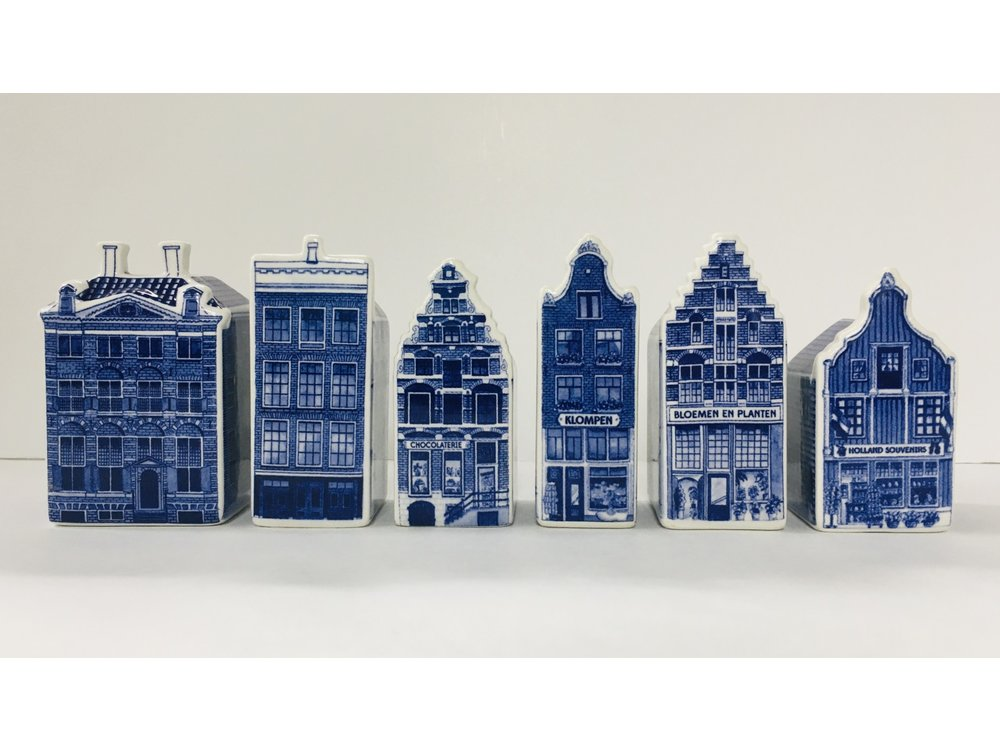 "Delft Canal Houses SMALL 3"" set of 6"