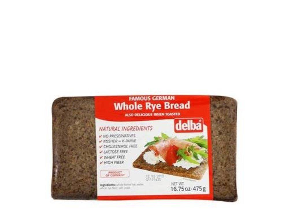 Delba Delba Whole Rye Bread 16oz 12/cs