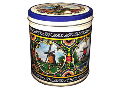 KM Stroopwafel Tin Color Windmill Design  8.8 oz