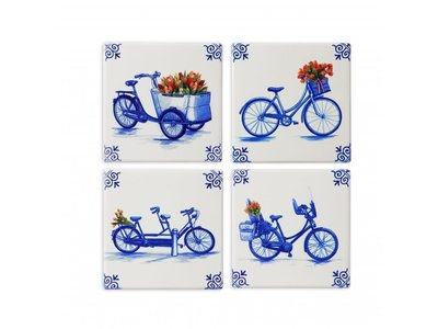 Delft Coasters Bicycles set of 4 boxed
