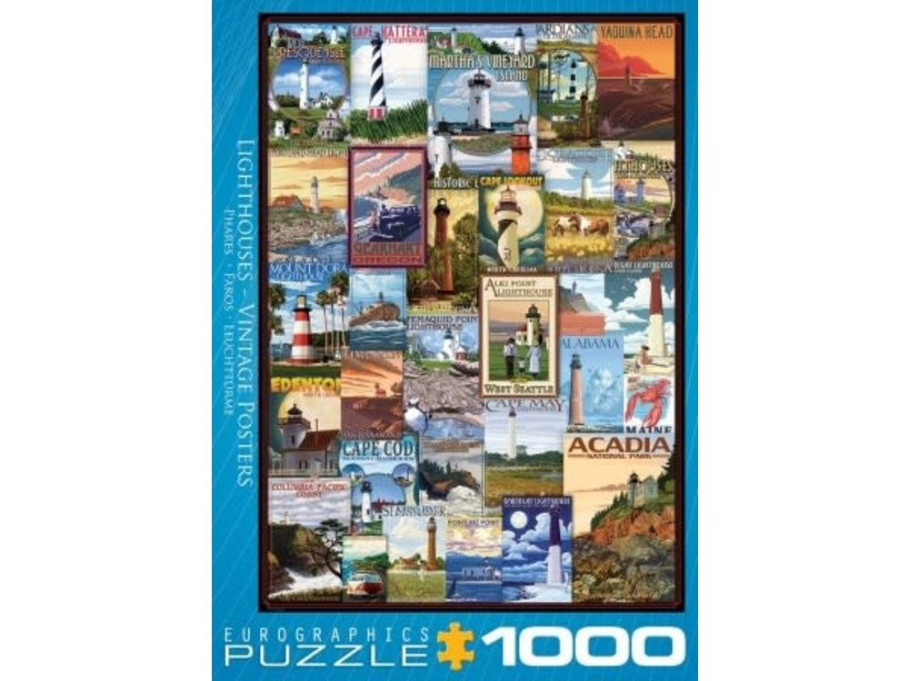 Games Puzzle Lighthouse Vintage Poster 1000 pc