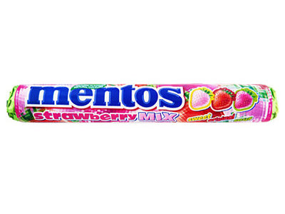 Van Melle Mentos Strawberry Mix rolls (sweet, orig, & sour)