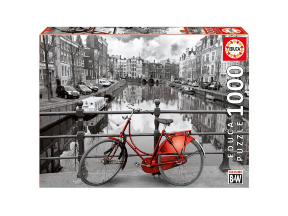 Games Puzzle  Red Bike on Amsterdam Canal 1000 cs