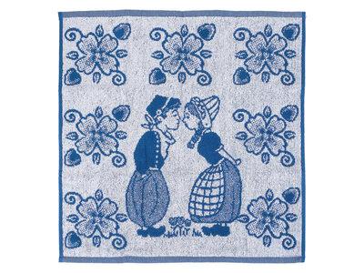 Twentse Twentse Dutch Couple Blue in Circle Hand Towel 20x20 inch