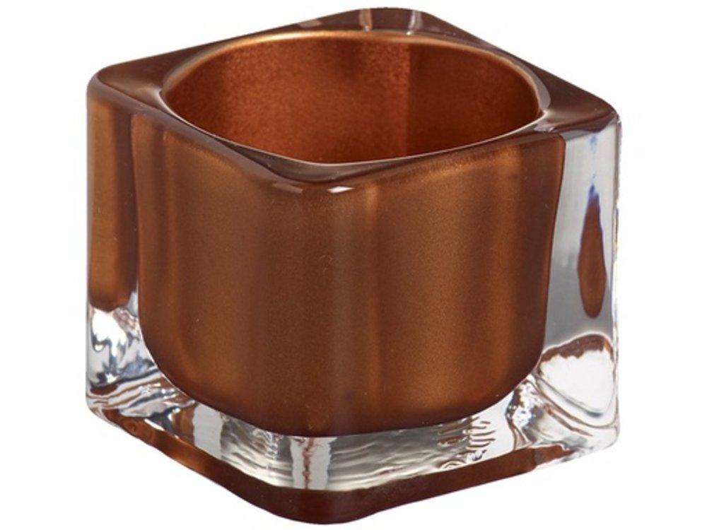 Bolsius Bolsius TeaLight Square Holder Copper 1.5 x 2.2 inch