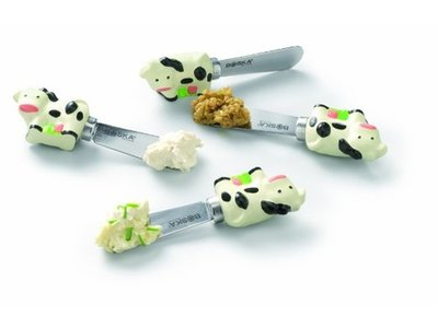 Boska Boska Cheese spreaders with cow motif holder stainless steel in gift box