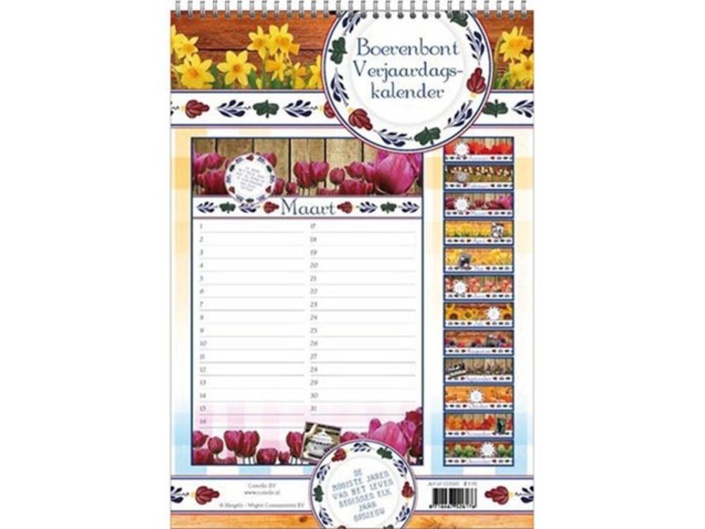 Birthday Calendar.Boerenbont Birthday Calendar