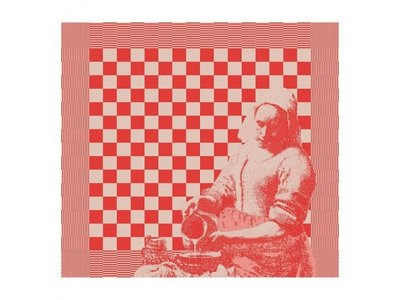 DDDDD DDDDD The Milk Maid Tea Towel Red