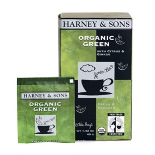 Harney & Son Harney & Sons Organic Green w/gingko & Lemon Tea 20 Ct Box