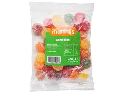 Matthijs Matthijs Jelly Fruits Gomballen 14 oz Bag 400g- dated 9/30/2019