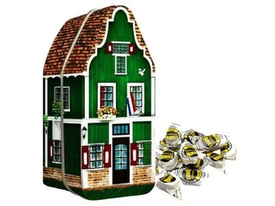 Zaanse House Tin with 7 oz bag Haagse Hopjes Coffee candy