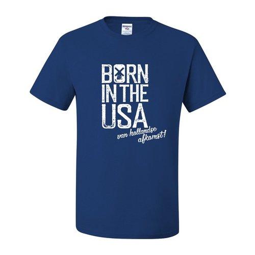 Born in USA with Dutch Descent Retro Blue T-Shirt Adult Medium