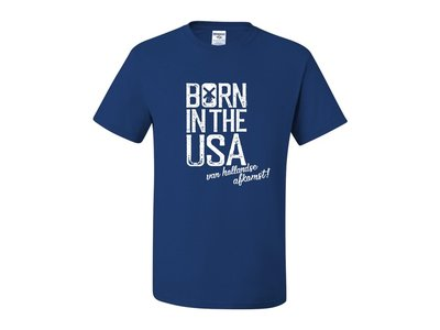 Born in USA with Dutch Descent Retro Blue T-Shirt Adult X Large