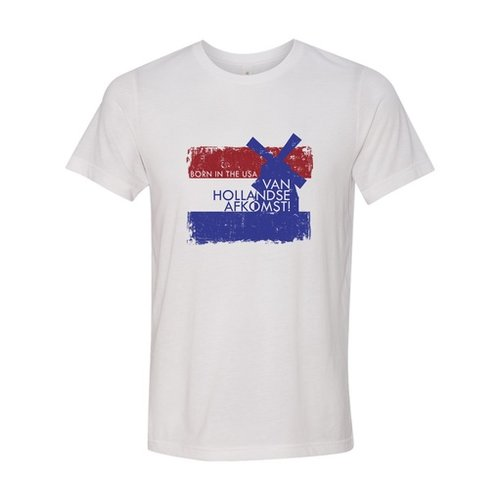 Born in USA with Dutch Descent White T-Shirt Adult-2XL
