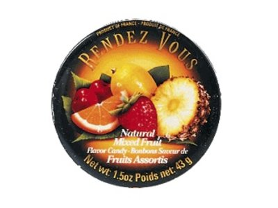 Rendez Vous Rendez Vous Mixed Fruit Candy 1.5oz Tin 12/cs
