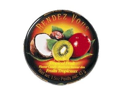 Rendez Vous Rendez Vous Tropical Fruit Candy 1.5oz Tin 12/cs