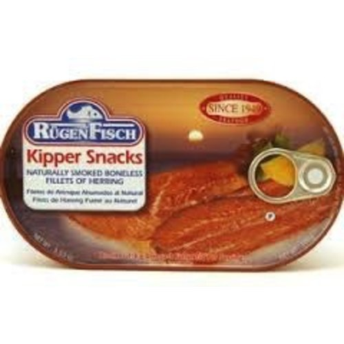 Rugenfisch Rugenfisch Kipper Snacks Smoked Herring Fillet 6.7 oz Tin