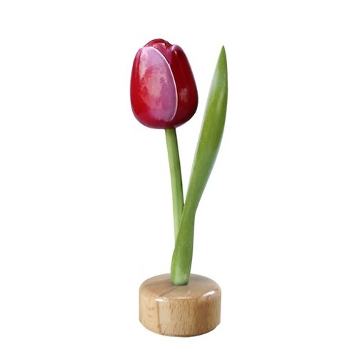 Tulip on Pedestal Pink/Red 8 inch