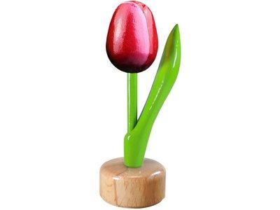 Tulip on Pedestal Red/Aubergine 3.25 inch
