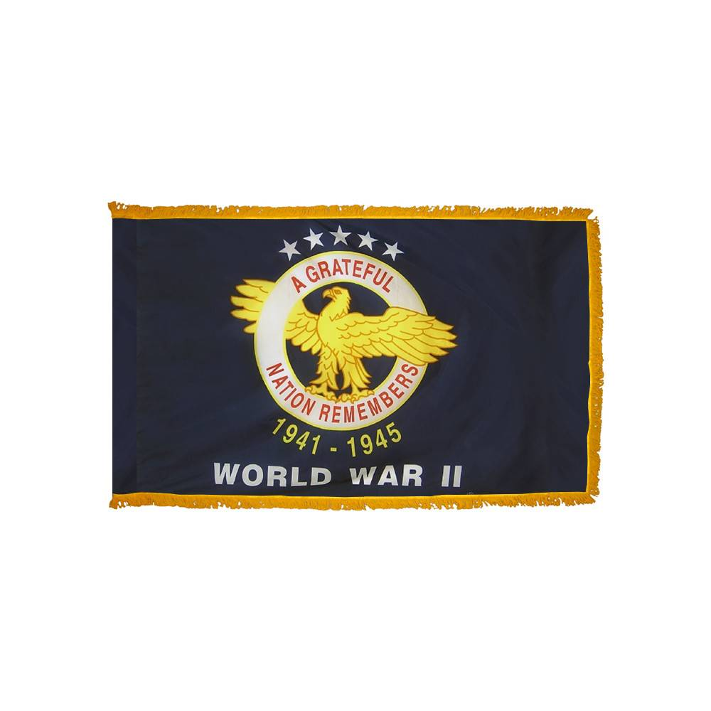 World War II Commemorative Flag with Polesleeve & Fringe