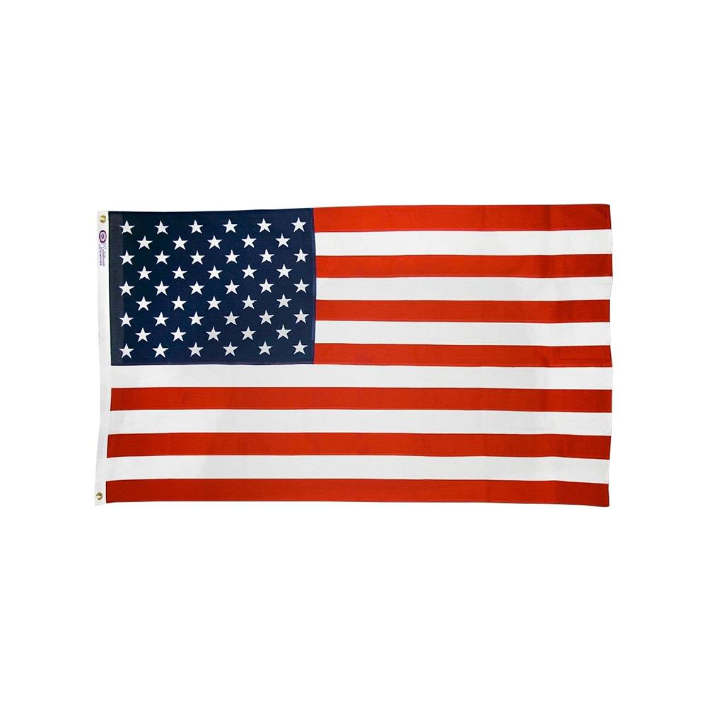 Polyester-Cotton American Flag with Printed Star Field & Sewn Stripes