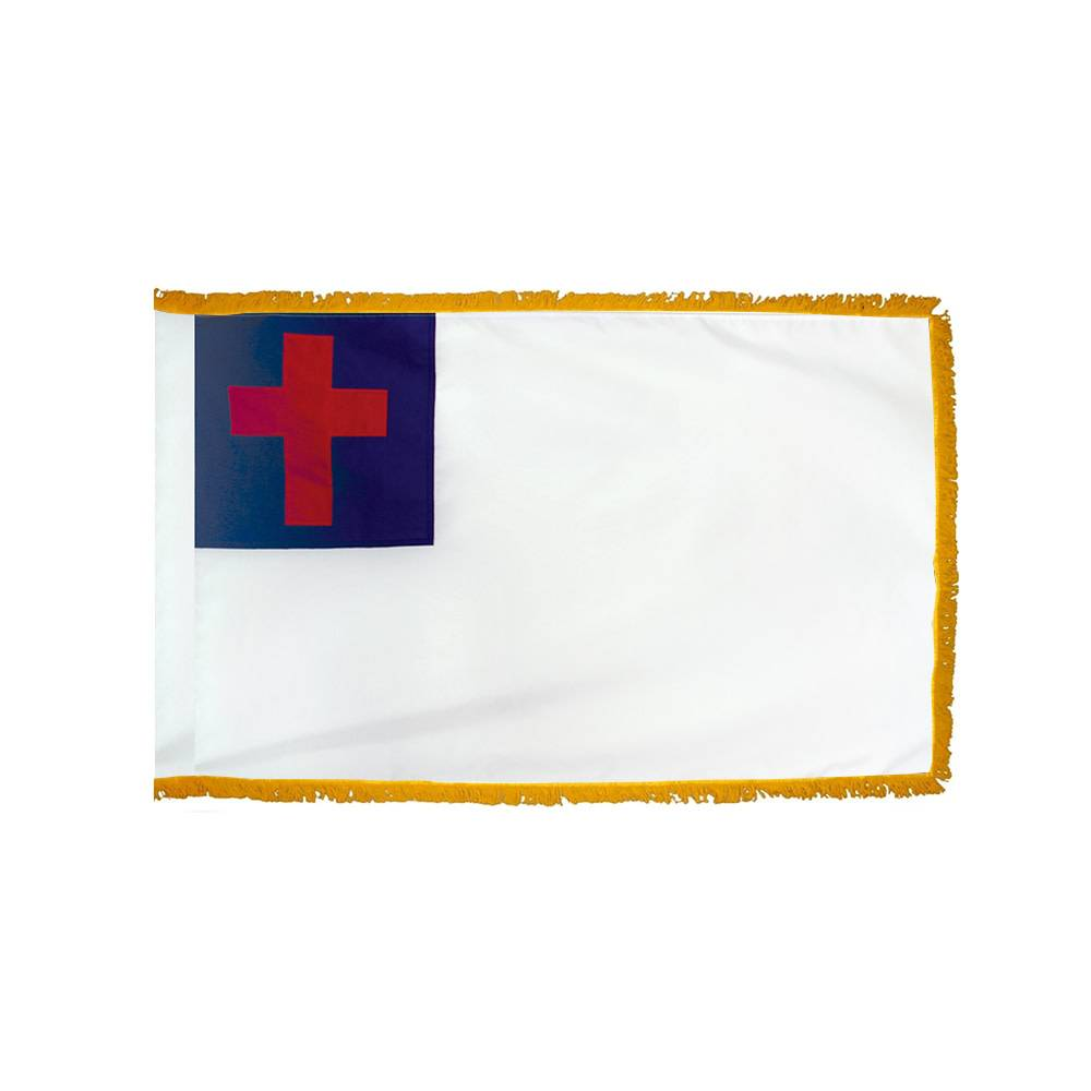 Christian Flag with Polesleeve & Fringe