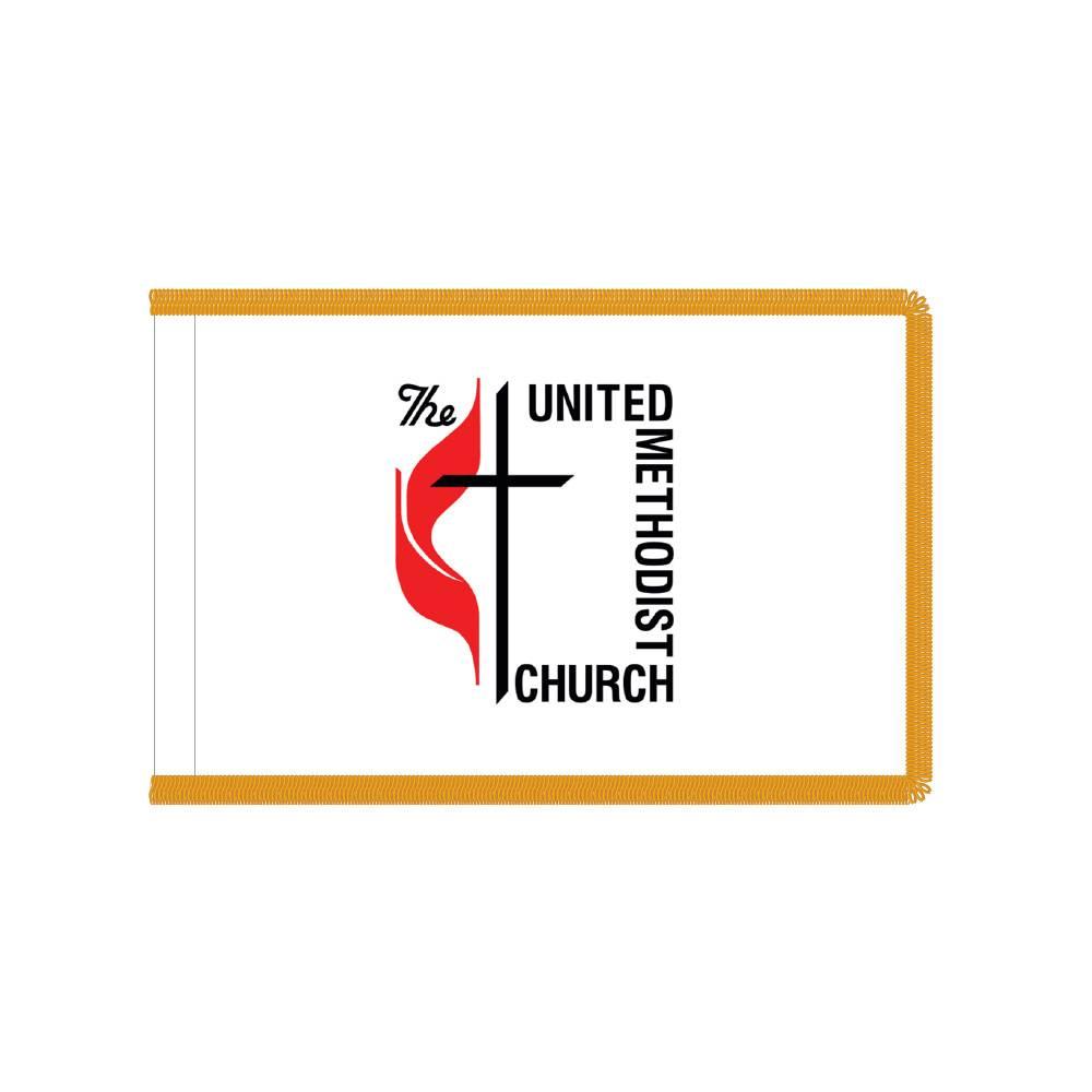Methodist Flag with Polesleeve & Fringe