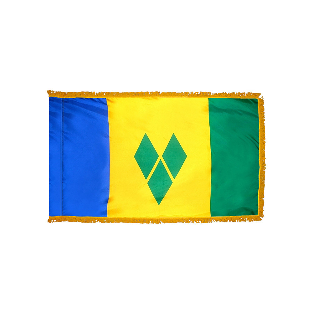 Saint Vincent & the Grenadines Flag with Polesleeve & Fringe