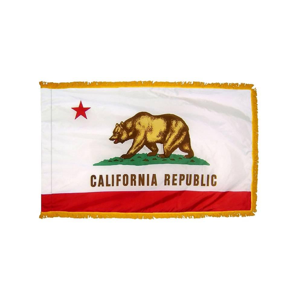 California Flag with Polesleeve & Fringe