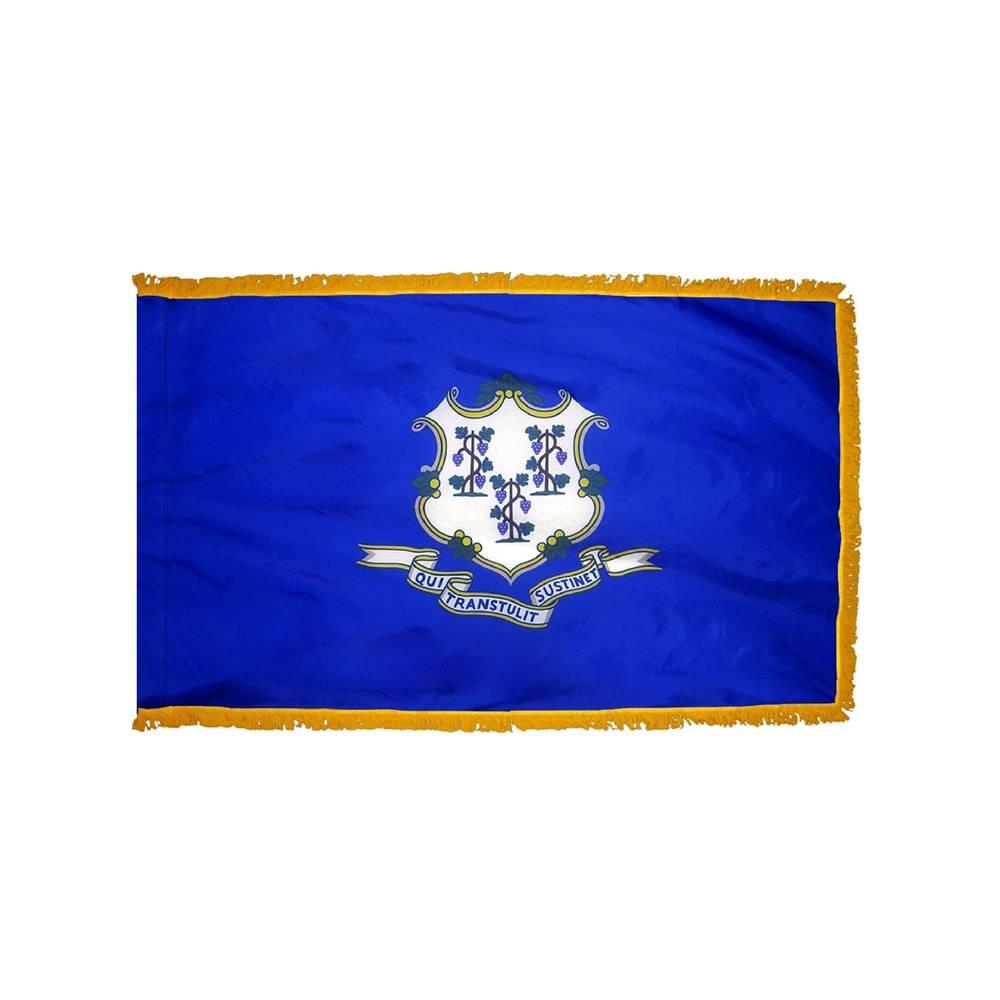 Connecticut Flag with Polesleeve & Fringe