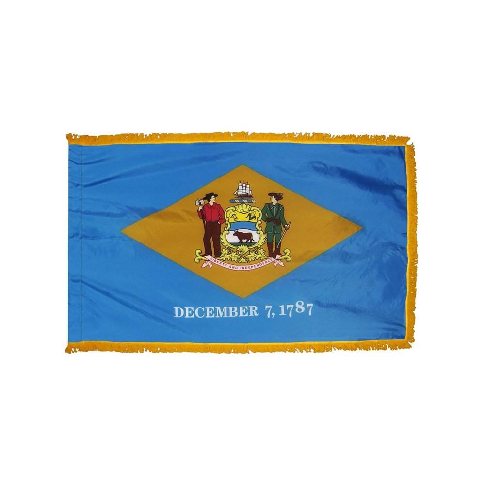 Delaware Flag with Polesleeve & Fringe