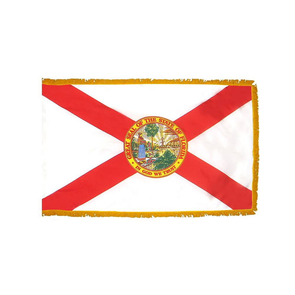 Florida Flag with Polesleeve & Fringe