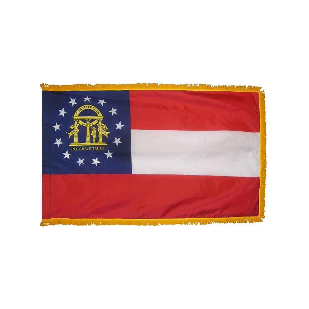 Georgia Flag with Polesleeve & Fringe