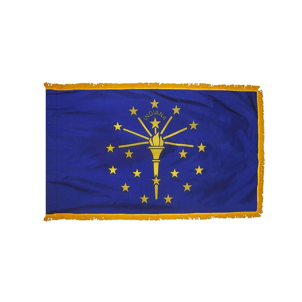 Indiana Flag with Polesleeve & Fringe