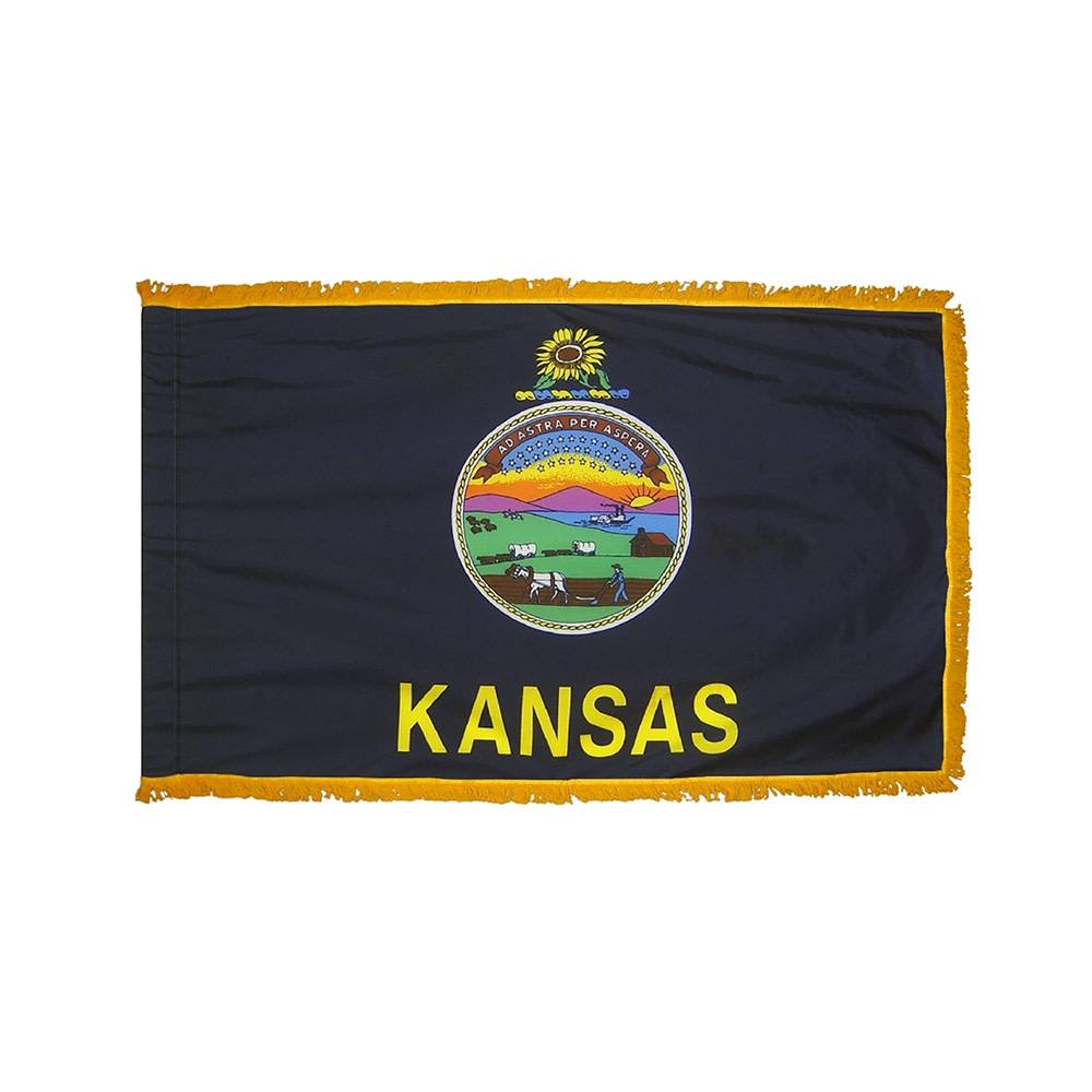 Kansas Flag with Polesleeve & Fringe