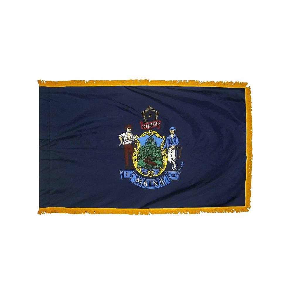 Maine Flag with Polesleeve & Fringe