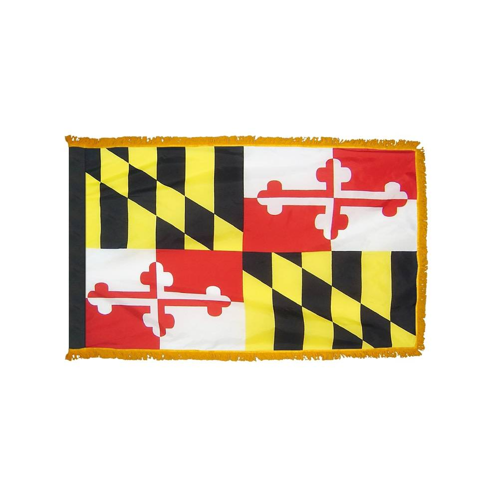 Maryland Flag with Polesleeve & Fringe