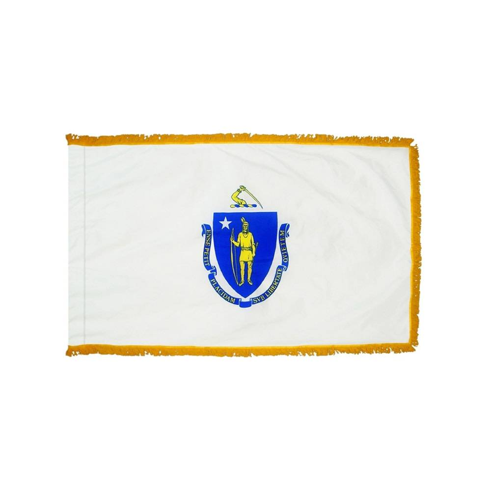 Massachusetts Flag with Polesleeve & Fringe