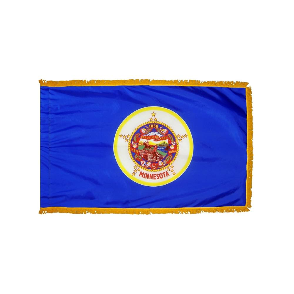 Minnesota Flag with Polesleeve & Fringe