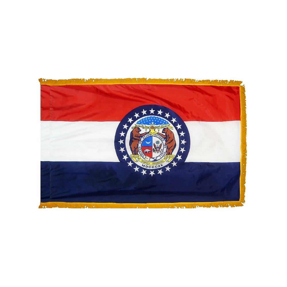Missouri Flag with Polesleeve & Fringe