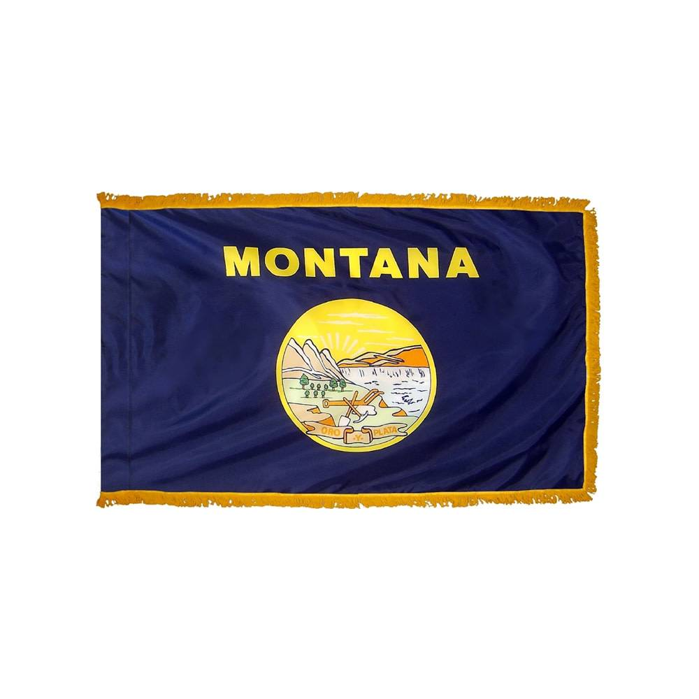Montana Flag with Polesleeve & Fringe