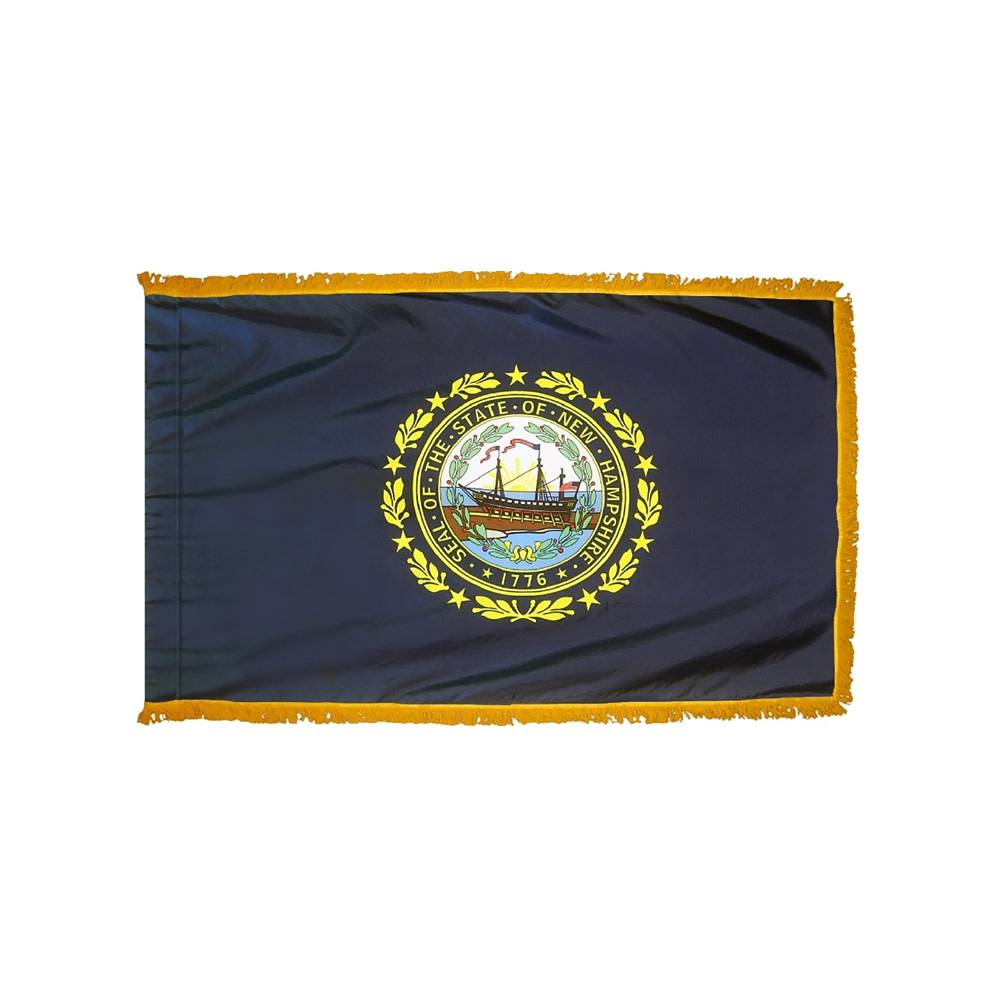New Hampshire Flag with Polesleeve & Fringe