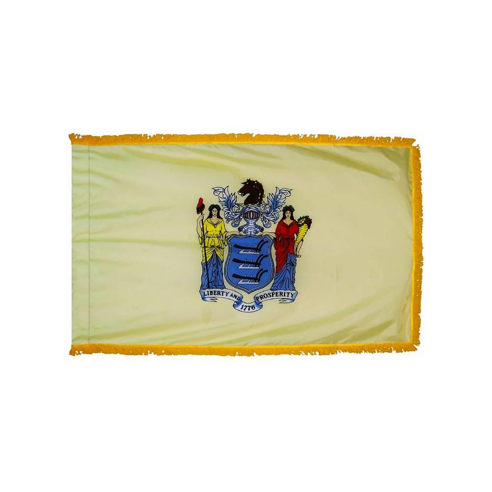 New Jersey Flag with Polesleeve & Fringe