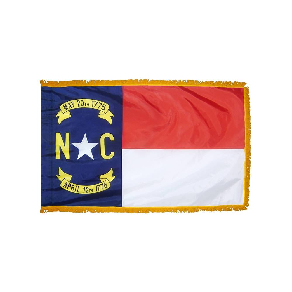North Carolina Flag with Polesleeve & Fringe