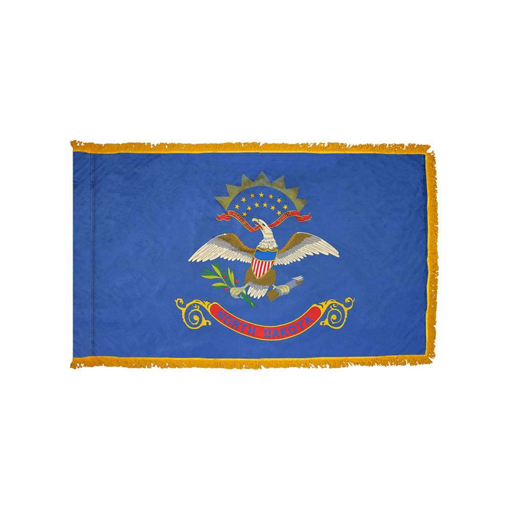 North Dakota Flag with Polesleeve & Fringe