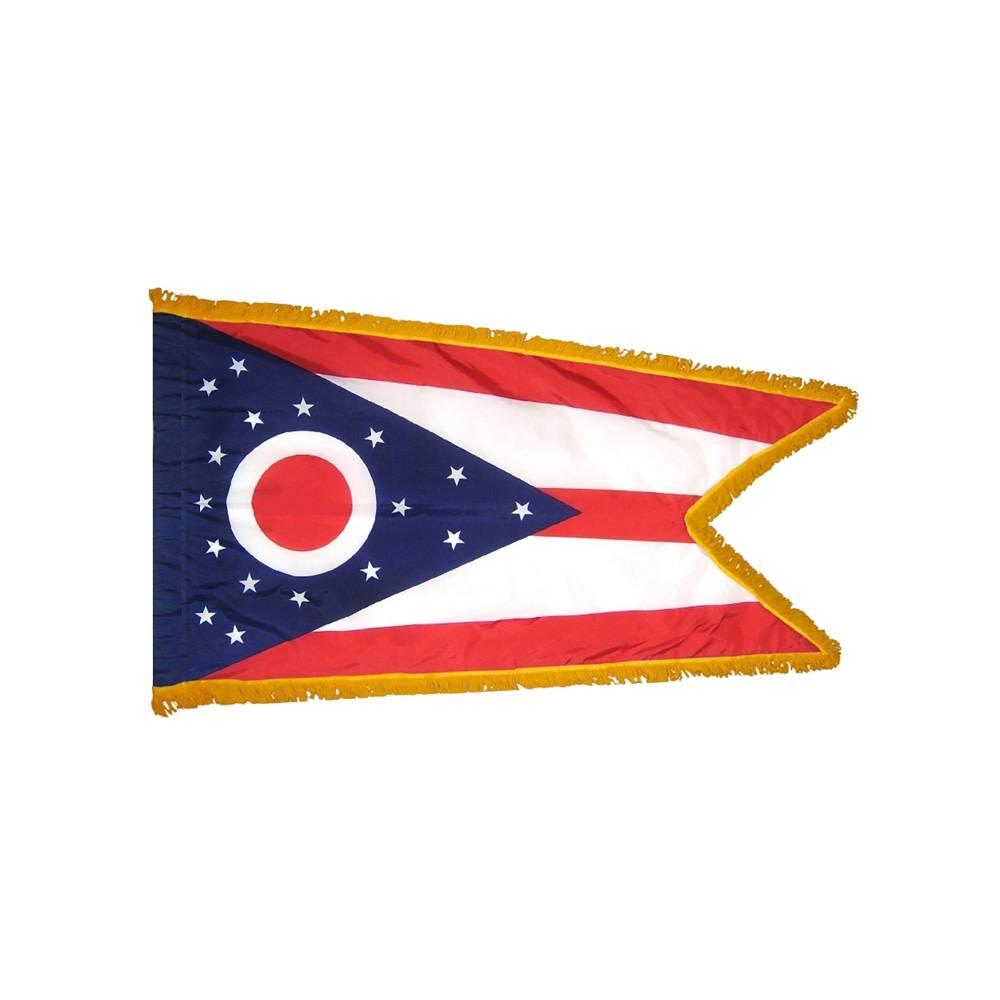 Ohio Flag with Polesleeve & Fringe